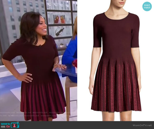 Lurex Pleated Fit-&-Flare Dress by Milly worn by Sheinelle Jones  on Today