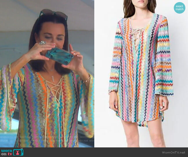 Up: Zig-Zag Beach Cover-Up by Missoni Mare worn by Kyle Richards  on The Real Housewives of Beverly Hills