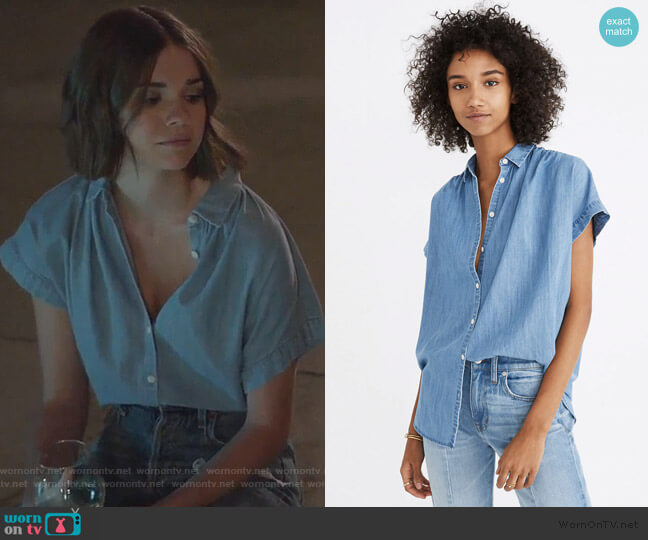 Central Shirt in Roberta Indigo by Madewell worn by Callie Foster (Maia Mitchell) on Good Trouble