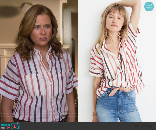 Courier Shirt in Lorelei Stripe by Madewell worn by Lena (Jenna Fischer) on Splitting Up Together