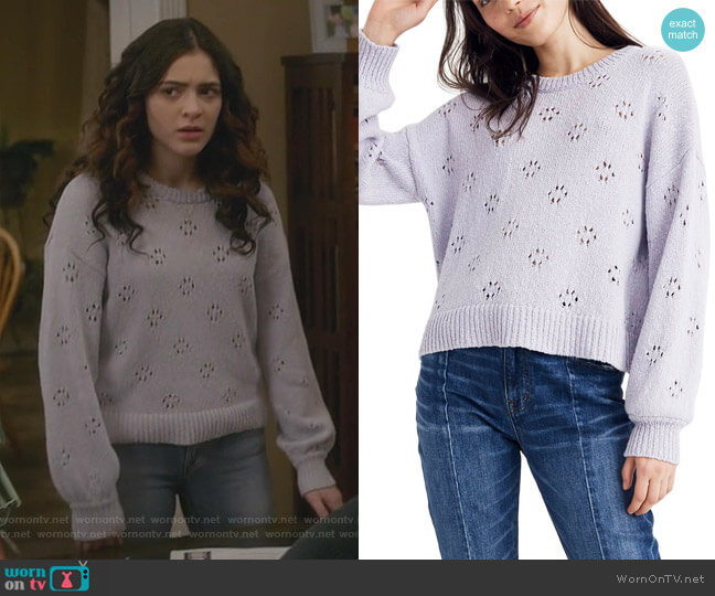 Floral Pointelle Pullover Sweater by Madewell worn by Olive Stone (Luna Blaise) on Manifest