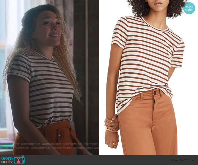 Metallic Stripe Crewneck Tee by Madewell worn by Allison Hargreeves (Emmy Raver-Lampman) on The Umbrella Academy