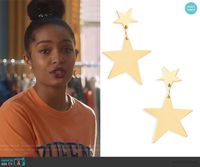Statement Star Drop Earrings by Madewell worn by Zoey Johnson (Yara Shahidi) on Grown-ish