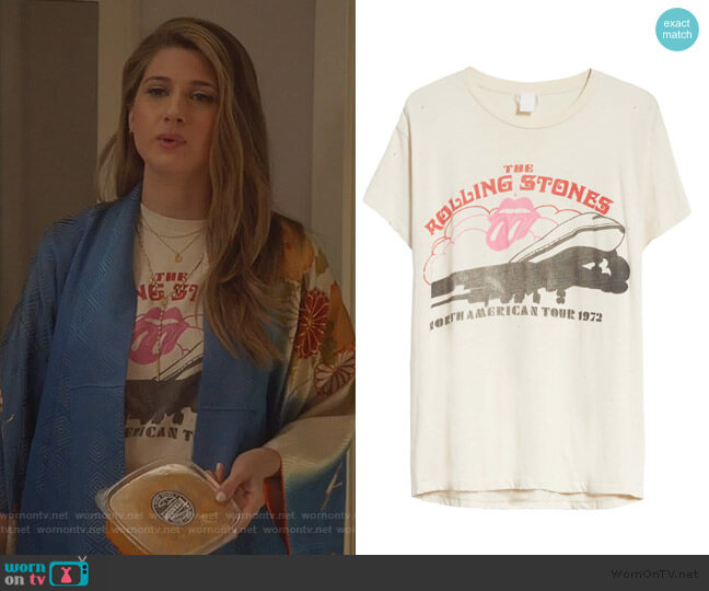 The Rolling Stones Tour 1972 T-Shirt by Madeworn worn by Nomi Segal (Emily Arlook) on Grown-ish