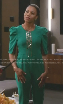 Maggie's green puff sleeve jumpsuit on Grey's Anatomy