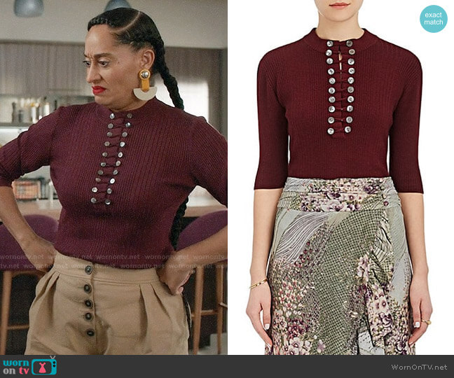 Maison Mayle enee Rib-Knit Wool-Silk Henley worn by Rainbow Johnson (Tracee Ellis Ross) on Blackish