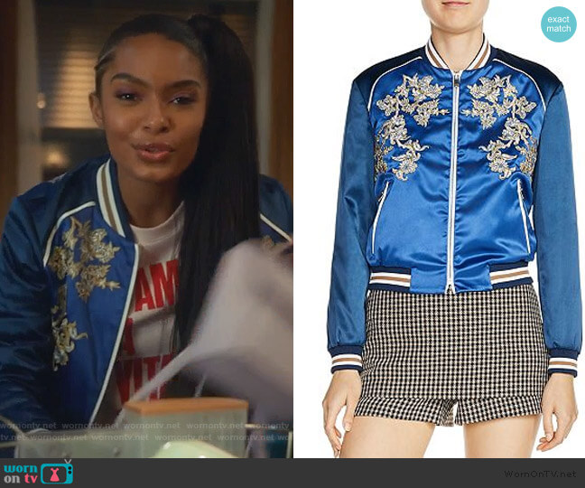 Bichon Embroidered Bomber Jacket by Maje worn by Zoey Johnson (Yara Shahidi) on Grown-ish