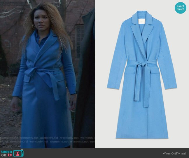 Geode Long Coat by Maje worn by Allison Hargreeves (Emmy Raver-Lampman) on The Umbrella Academy