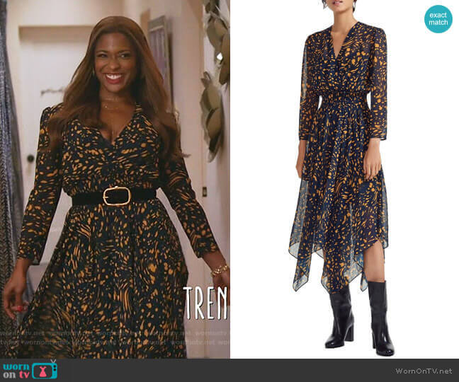 Rayem Dress by Maje worn by Poppy (Kimrie Lewis) on Single Parents