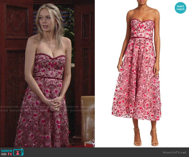 Marchesa Notte Strapless Sweetheart Embroidered Floral Tulle A-Line Dress worn by Abby Newman (Melissa Ordway) on The Young & the Restless