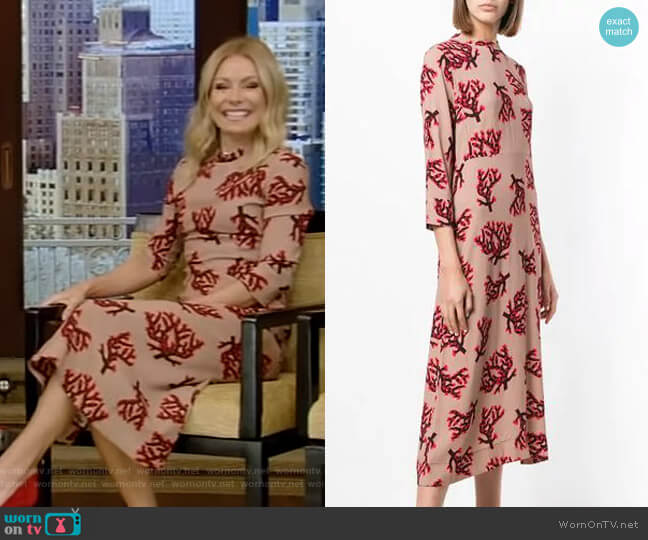 Branch Print Dress by Marni worn by Kelly Ripa (Kelly Ripa) on Live with Kelly & Ryan