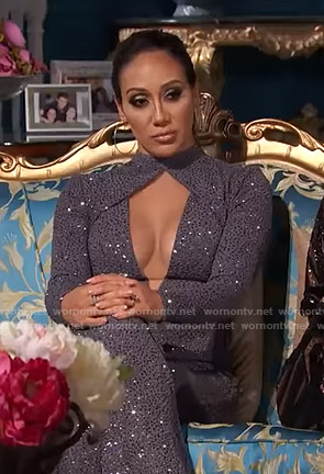 Melissa's sequin cutout jumpsuit on The Real Housewives of New Jersey