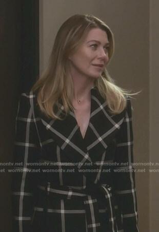 Meredith's black windowpane checked coat on Grey's Anatomy