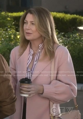 Meredith's pink wrap coat on Grey's Anatomy
