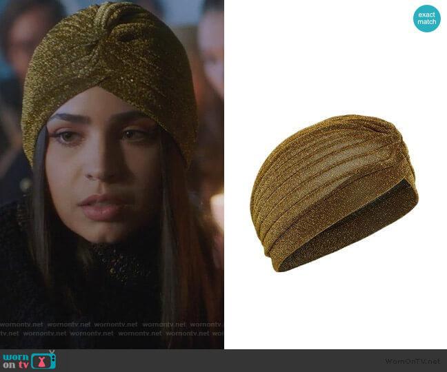 Tasha Metallic Turban worn by Ava Jalali (Sofia Carson) on PLL The Perfectionists