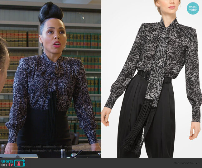 Fringed Tiger Silk-Georgette Scarf Blouse by Michael Kors worn by Tegan Price (Amirah Vann) on HTGAWM
