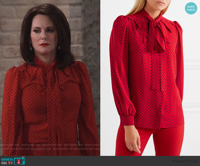 Pussy-bow polka-dot silk-georgette blouse by Michael Kors Collection worn by Karen Walker (Megan Mullally) on Will & Grace