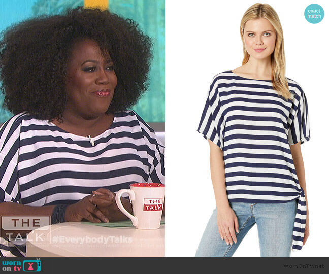 Graphic Stripe Side-Tie Tee by Michael Michael Kors worn by Sheryl Underwood  on The Talk
