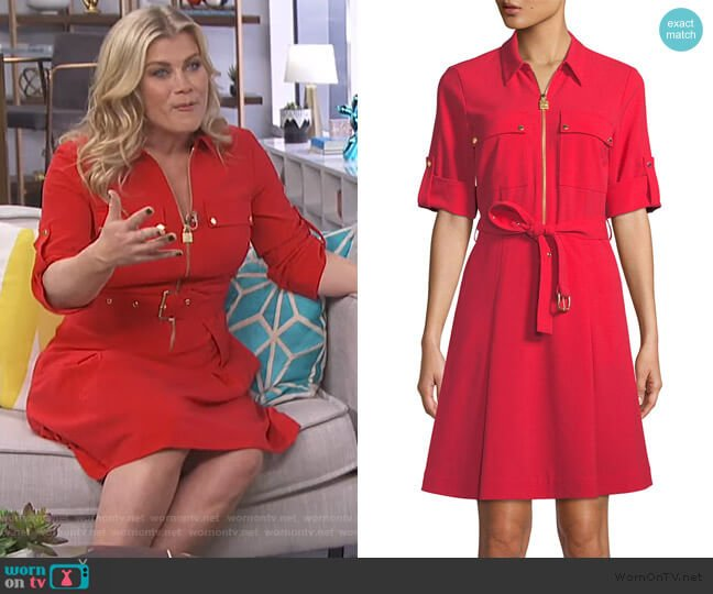 Lock-Zip Crepe Shirtdress by MICHAEL Michael Kors worn by Alison Sweeney on E! News