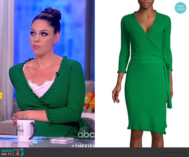 Ruffle Edge Wrap Dress by Milly worn by Abby Huntsman  on The View