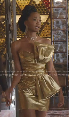 Monica's gold bow mini dress on Dynasty