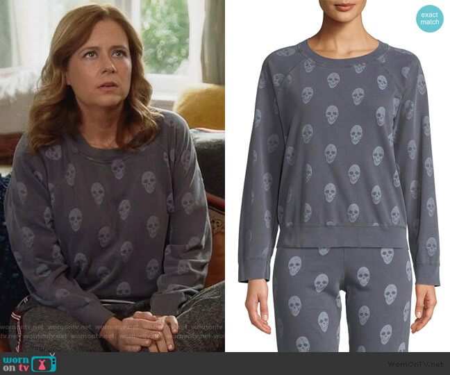 Vintage Skull-Print Raglan Pullover Sweater by Monrow worn by Lena (Jenna Fischer) on Splitting Up Together