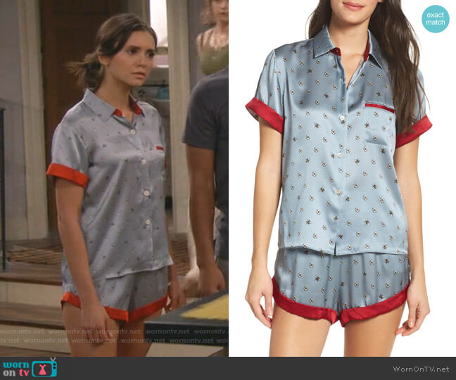 Staci Silk Pajama Top and Chloe Shorts by Morgan Lane worn by Clem (Nina Dobrev) on Fam
