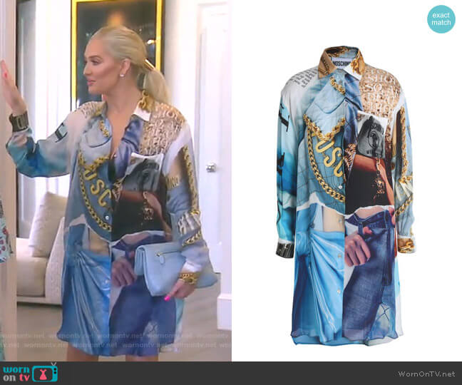 Printed Crepe de Chine Mini Shirt Dress by Moschino worn by Erika Girardi  on The Real Housewives of Beverly Hills