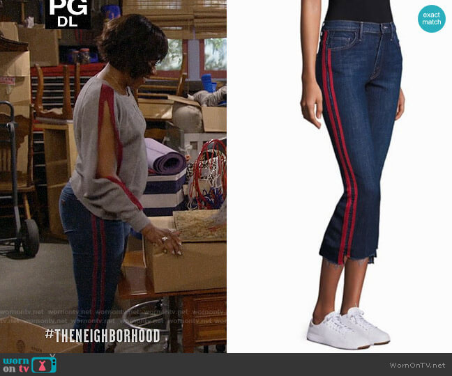 Mother Insider Striped Raw-Edge Jeans worn by Tina (Tichina Arnold) on The Neighborhood