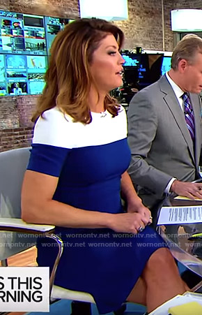 Norah's blue and white colorblock dress on CBS This Morning