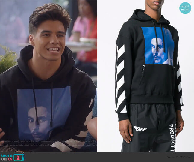 Bernini print hoodie by Off White worn by Vivek Shah (Jordan Buhat) on Grown-ish