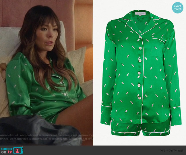 Alba silk pyjama set by Olivia Von Halle worn by Camille (Lindsay Price) on Splitting Up Together