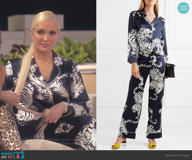 Lila Pajama Set by Olivia von Halle worn by Erika Girardi  on The Real Housewives of Beverly Hills