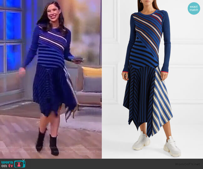 Asymmetric striped cotton-blend midi dress by Opening Ceremony worn by Abby Huntsman  on The View