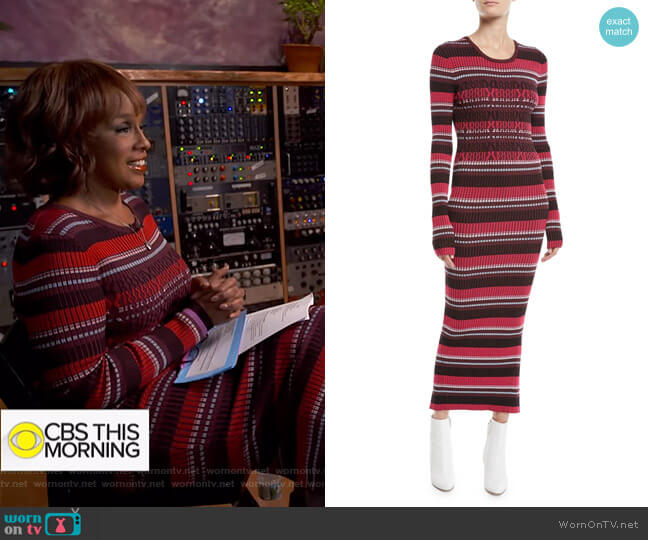 Striped Rib-Knit Long-Sleeve Midi Dress by Opening Ceremony worn by Gayle King  on CBS This Morning