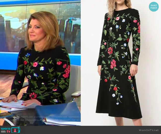 Long Sleeve Floral Embroidered Dress by Oscar de la Renta worn by Norah O'Donnell  on CBS This Morning