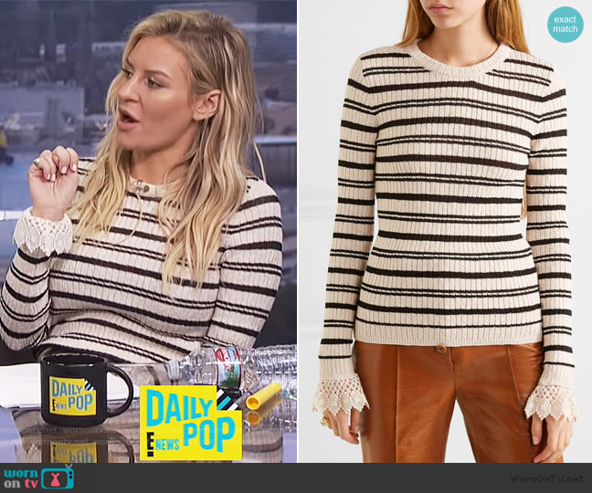 Crochet-trimmed striped ribbed cotton-blend sweater by Philosophy Di Lorenzo Serafini  worn by Morgan Stewart (Morgan Stewart) on E! News