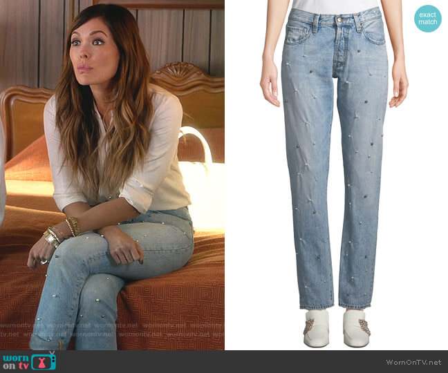 El Camino Tapered Boyfriend Jeans with Pearl Details by PRPS worn by Camille (Lindsay Price) on Splitting Up Together