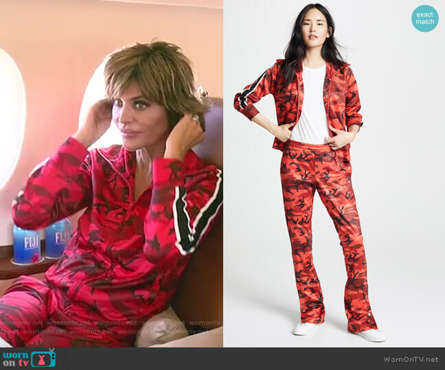 Camo Track Jacket and Track Pants by Pam & Gela worn by Lisa Rinna  on The Real Housewives of Beverly Hills