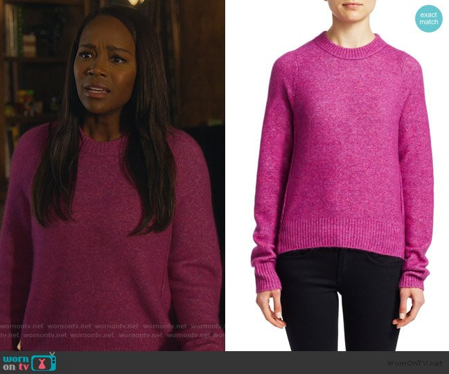 Inset Shoulder Crewneck Sweater by 3.1 Phillip Lim worn by Michaela Pratt (Aja Naomi King) on HTGAWM