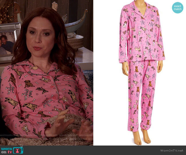 Pink Dogs Button-Up Pajama Set by Rene Rofe worn by Kimmy Schmidt (Ellie Kemper) on Unbreakable Kimmy Schmidt