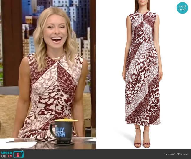 Print Side Gather Midi Dress by Victoria Beckham worn by Kelly Ripa (Kelly Ripa) on Live with Kelly & Ryan