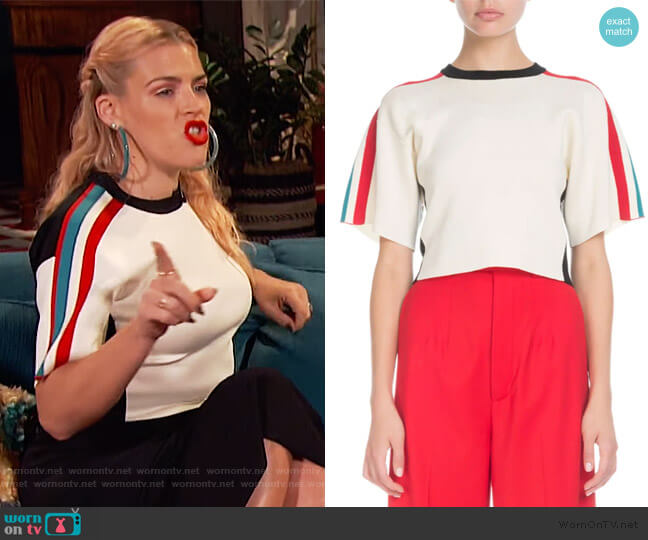 Short-Sleeve Racer-Stripe Crop Sweater by Proenza Schouler worn by Busy Philipps  on Busy Tonight