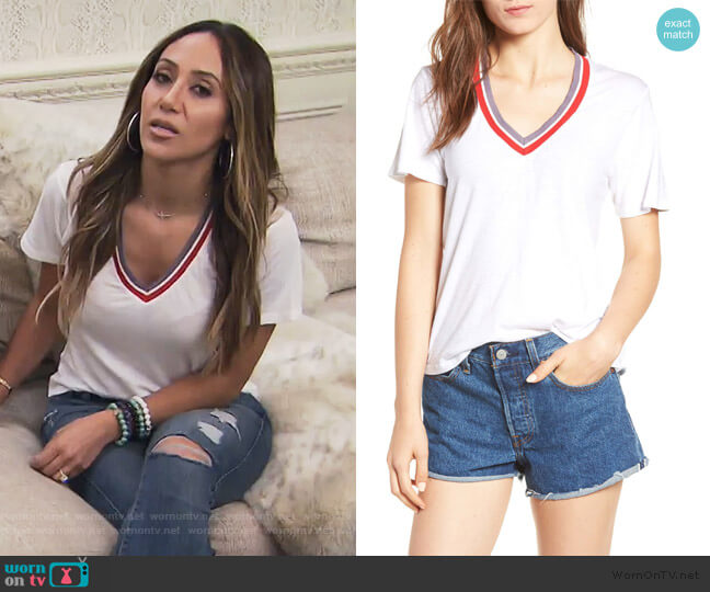 Noah Banded V-neck Tee by Project Social T worn by Melissa Gorga  on The Real Housewives of New Jersey