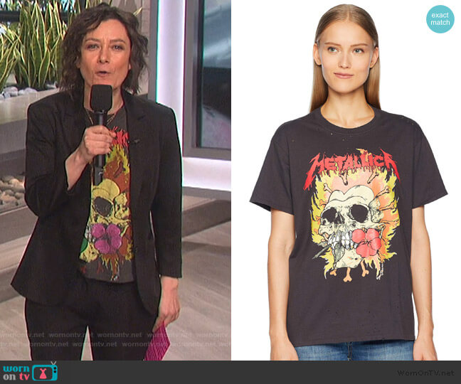 Rose Teeth Vintage T-Shirt by  R13 worn by Sara Gilbert  on The Talk