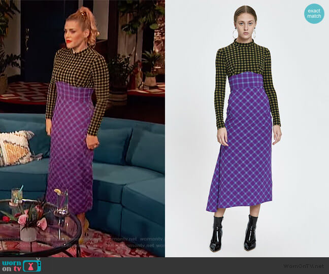 Long Stretchy Plaid Converge Dress by Rachel Comey worn by Busy Philipps  on Busy Tonight