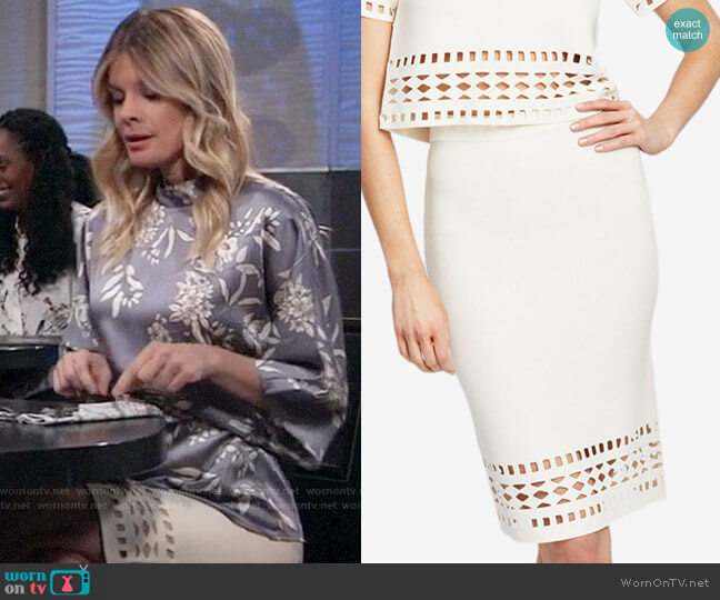 RACHEL Rachel Roy Frankie Skirt worn by Nina Reeves (Michelle Stafford) on General Hospital
