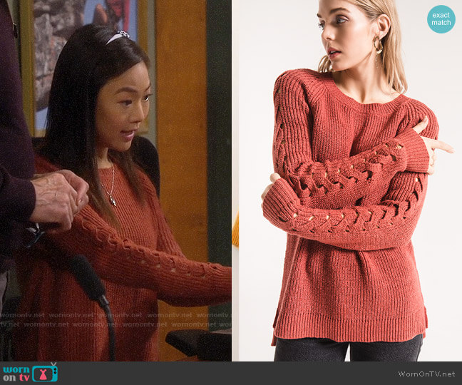 Rag Poets Gretchen Sweater Tandori Spice worn by Jen (Krista Marie Yu) on Last Man Standing