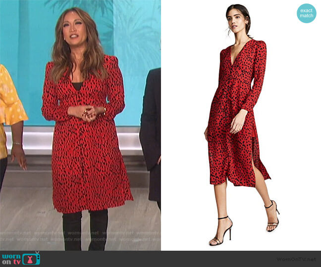 Red Leopard Scarlett Dress by Rahi Cali worn by Carrie Inaba  on The Talk