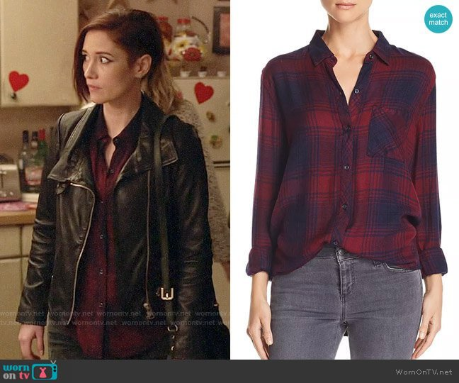 Rails Hunter Shirt in Currant Navy worn by Alex Danvers (Chyler Leigh) on Supergirl